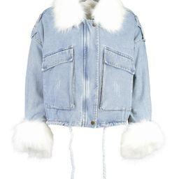 Faux Fur Trim Oversized Denim Jacket | Boohoo.com (US & CA)