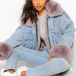 Faur Fur Trim Oversized Denim Jacket | Boohoo.com (US & CA)