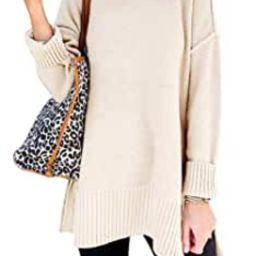 MEROKEETY Women's Casual Crew Neck Side Split Pullover Sweater Loose Long Sleeve Jumper Top   Amazon (US)