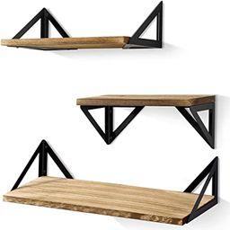 BAYKA Floating Shelves Wall Mounted, Rustic Wood Wall Shelves Set of 3 for Bedroom, Bathroom, Liv...   Amazon (US)