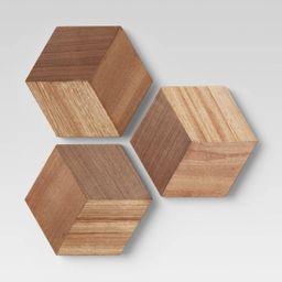 Set of 3 Wood Tile Brown - Project 62™   Target