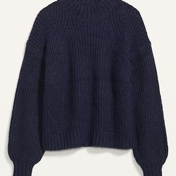 Cozy Shaker-Stitch Mock-Neck Sweater for Women | Old Navy (US)