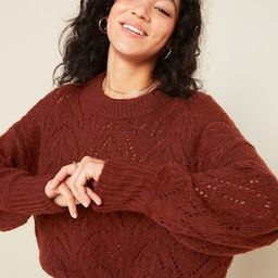 Cozy Pointelle-Knit Crew-Neck Sweater for Women | Old Navy (US)