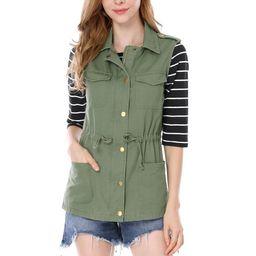 Women's Drawstring Utility Anorak Cargo Vest Jacket   Walmart (US)