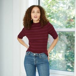 Women's Elbow Sleeve High Neck Rib T-Shirt - A New Day™ | Target
