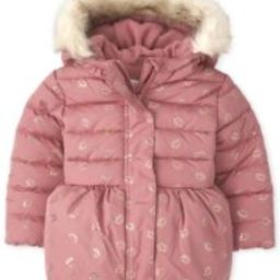 Toddler Girls Long Sleeve Foil Crown Print Faux Fur Hooded Bubble Puffer Jacket | The Children's Place
