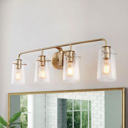 LALUZ Modern Bathroom Vanity Light 4-Light Warm Brass Gold Bath Light Interior Bath Bar Light with B | The Home Depot