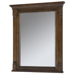 Home Decorators Collection Creedmoor 26 in. W x 31 in. L Single Wall Hung Mirror in Walnut, Brown | The Home Depot