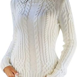 Women's Casual Cable Knit Sweater High Neck Long Sleeve Winter Chunky Pullover Top   Amazon (US)