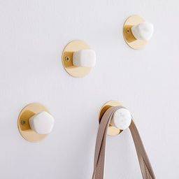 White Marble & Brass Wall Hooks (Set of 4)   West Elm (US)