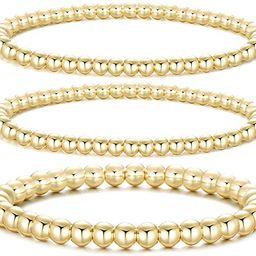 Dndty 14K Gold Plated Bead Ball Bracelets Stretchable Elastic Gold Beaded Bracelets for Women | Amazon (US)