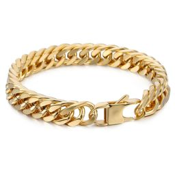 10mm Wide Gold Color 316L Stainless Steel Bracelet Cut Double Curb Link Rombo Mens Chain | Walmart (US)