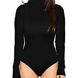 PALINDA Women's Long Sleeve Striped Basic Solid Round Neck Bodysuit Stretchy Leotards | Amazon (US)