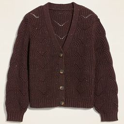 Pointelle-Knit Button-Front Cardigan Sweater for Women | Old Navy (US)