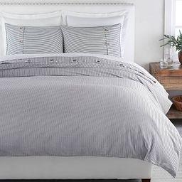 Wheaton Striped Linen/Cotton Duvet Cover & Shams - Navy | Pottery Barn (US)