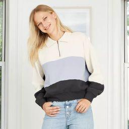 Women's Quarter Zip-Up High Neck Pullover Sweatshirt - Universal Thread™   Target