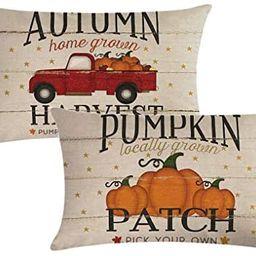 7COLORROOM Set of 2 Pumpkin Throw Pillow Covers Retro Red Truck Autumn Harvest Rectangular/Waist ... | Amazon (US)