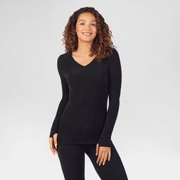 Warm Essentials by Cuddl Duds Women's Textured Fleece Thermal V-Neck Top - Black | Target