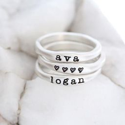 Stacking Name Rings- Personalized Ring Stack- Custom Set of Rings for Mom- Stackable Name Rings- ... | Etsy (US)