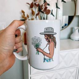 Cute Flowers + Hat Coffee Mug, Coffee Mug, Ceramic mug, Cute coffee mug, Gift for her   Etsy (US)