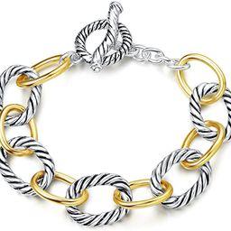 UNY Link Bracelet Designer Brand Inspired Antique Women Jewelry Cable Wire Vintage Valentine Chri... | Amazon (US)