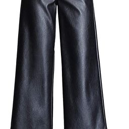 HaoMay Women's High Waist Wide Leg PU Faux Leather Cropped Pants Culottes | Amazon (US)