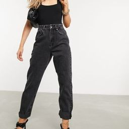 ASOS DESIGN high rise 'slouchy' mom jeans in washed black | ASOS (Global)