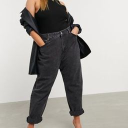 ASOS DESIGN Curve high rise 'slouchy' mom jeans in washed black | ASOS (Global)