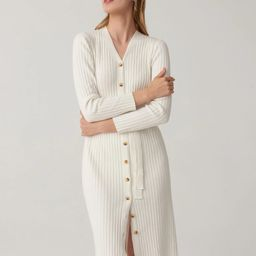 SHEIN Button Front Self Belted Rib-knit Sweater Dress | SHEIN