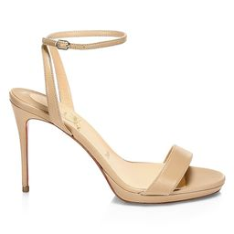 Christian Louboutin Women's Loubi Queen Leather Ankle-Strap Sandals - Nude - Size 42 (12) | Saks Fifth Avenue