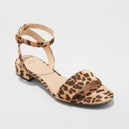 Women's Winona Leopard Print Ankle Strap Sandals - A New Day Brown 7   Target