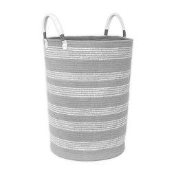 Taylor Madison Designs® Round Cotton Rope Hamper in Grey/White   Bed Bath & Beyond