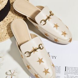 Metal Decor Star Embroidered Mules | SHEIN