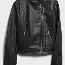 Banded-Collar Vegan Suede Moto Jacket | Banana Republic Factory