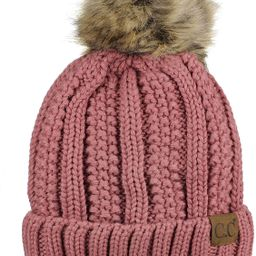C.C Thick Cable Knit Faux Fuzzy Fur Pom Fleece Lined Skull Cap Cuff Beanie | Amazon (US)