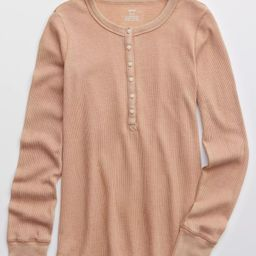 Aerie Waffle Henley Long Sleeve T-Shirt | American Eagle Outfitters (US & CA)