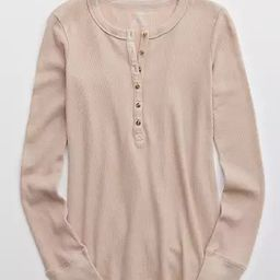 Aerie Waffle Henley Long Sleeve T-Shirt   American Eagle Outfitters (US & CA)