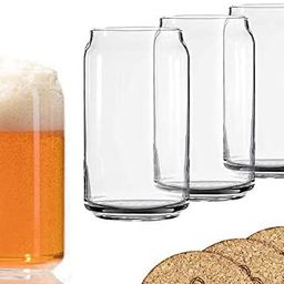 Ecodesign Drinkware Libbey Beer Glass Can Shaped 16 oz - Pint Beer Glasses 4 PACK w/coasters   Amazon (US)