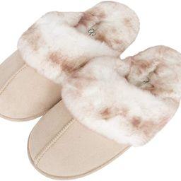 Jessica Simpson Women's Comfy Faux Fur House Slipper Scuff Memory Foam Slip on Anti-skid Sole   Amazon (US)