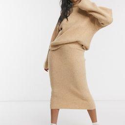 ASOS DESIGN fluffy roll neck sweater and skirt in camel | ASOS | ASOS (Global)