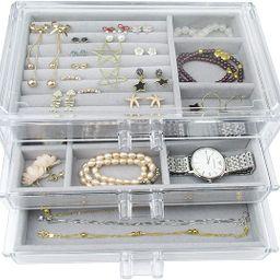 Acrylic Jewelry Box 3 Drawers, Velvet Jewellery Organizer, Earring Rings Necklaces Bracelets Disp...   Amazon (US)