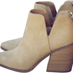 Kathemoi Womens Ankle Boots Slip on Cutout Pointed Toe Snakeskin Chunky Stacked Mid Heel Booties | Amazon (US)