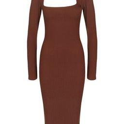 Rib Cut Out Long Sleeve Midi Dress   Boohoo.com (US & CA)