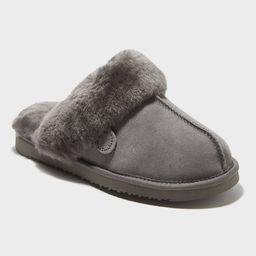Women's dluxe by dearfoams Sydney Genuine Shearling Scuff Slide Slippers - Gray 6 | Target