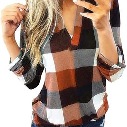 aihihe Women Long Sleeve Flannel Plaid Shirt Pullover Sexy V Neck Tops Casual Loose Boyfriend Tun... | Amazon (US)