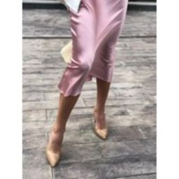 Dust Pink Silk Skirt Midi Blush Bias Cut Stretch Satin High Waist Pink Midi Long   Etsy (US)