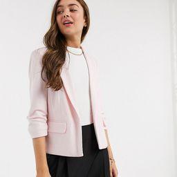 Miss Selfridge Petite ponte blazer in light pink | ASOS (Global)