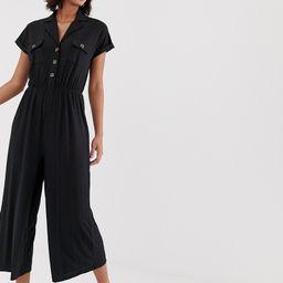 ASOS DESIGN button detail shirt jumpsuit with short sleeve-Black   ASOS (Global)