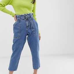 River Island Petite paperbag jeans in mid wash-Blue   ASOS (Global)