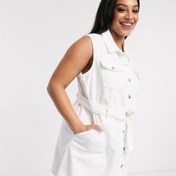 Urban Bliss Plus sleeveless denim dress in white   ASOS (Global)